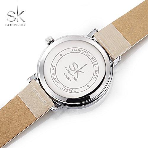 Amazon.com: Shengke Fashion Black Women Watches 2017 Ultra Thin Quartz Watch Woman Elegant Dress Ladies Watch Montre Femme SK (Silver case&Brown Strap): ...