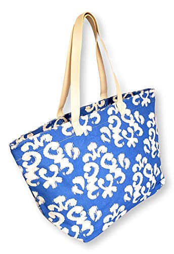 X Large Canvas Blue Damask Print Beach Bag Travel Tote for Women - Custom Personalization Available (Blue Damask)