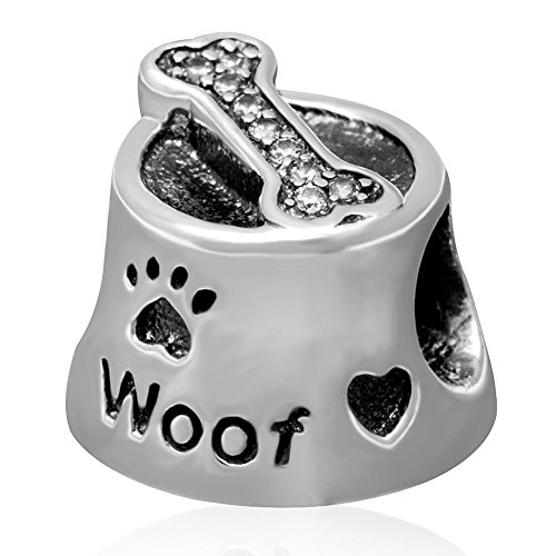 Dog Food Bowl Charm Woof Charm Authentic 925 Sterling Silve Dog Charm Animal Charm Bone Charm Love Charm Heart Charm fit European Charm Bracelet (Food Bracelet Charms Silver)