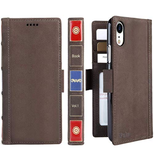 iPhone XR Leather Wallet Case - iPulse Vintage Book Series Italian Full Grain Leather Handmade Flip Case Apple iPhone XR/10R (2018) Magnetic Closure - Retro Brown from iPulse