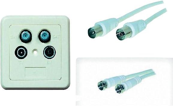 Kit de conexión con toma pared 4 Vías + Cable de antena TV ...