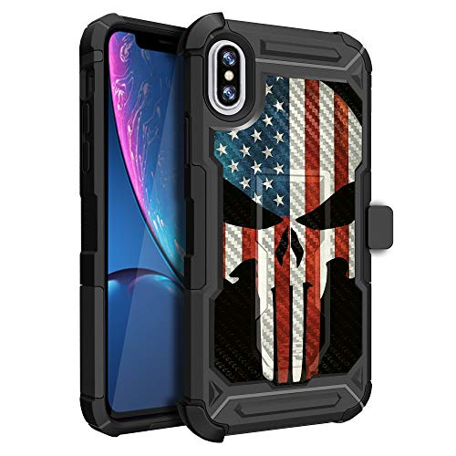 MINITURTLE Compatible with iPhone X Case w/Advanced ShockAbsorption Silicone [UFO Defense Series] Textured Carbon Fiber Case w/Locking Stand & Swivel Holster Skull USA Flag