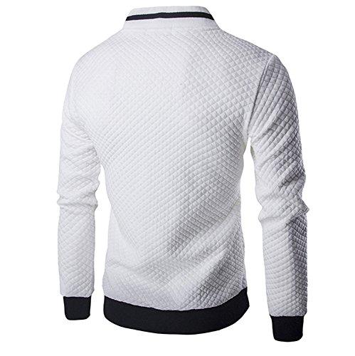 Farjing Sweatshirt for Men,Clearance Sale Mens' Long Sleeve Plaid Cardigan Zipper Sweatshirt Tops Jacket Coat Outwear(M,White by Farjing (Image #1)