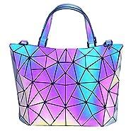 HotOne Geometric Luminous Purses and Handbags Shard Lattice Eco-friendly Leather Holographic Purse