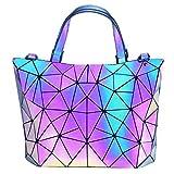 HotOne Geometric Purse Holographic Purse and Handbag Color Changes Luminous Purse for Women (M Purse Only) Larger Image
