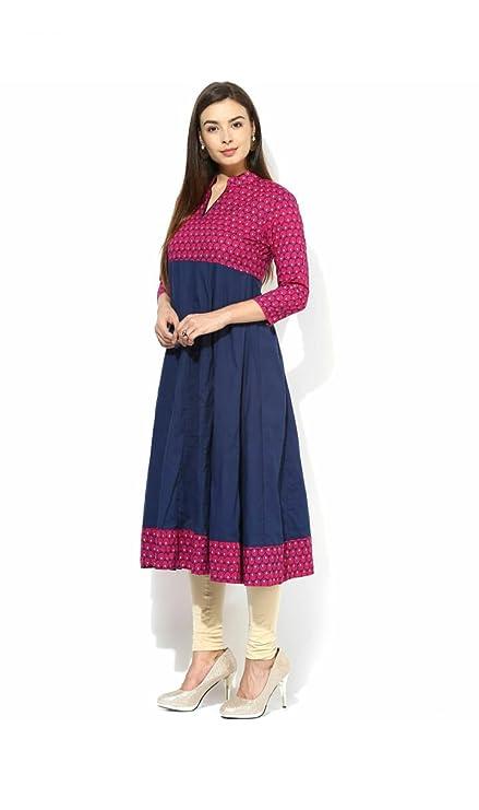 AnjuShree Choice Women's Blue Stitched Cotton Anarkali Kurti Women's Kurtas & Kurtis at amazon