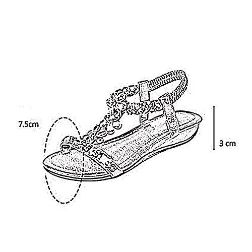 zapatos Sandalias EU37 de bohemio de Color pendiente Amazing simple Casual de de sandalias femenina chanclas 5 imitación con 5 A diamantes CN37 B playa UK4 romanas Tamaño estilo 5BEnzwq