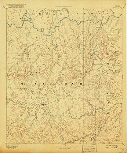 YellowMaps Brady TX topo map, 1:125000 Scale, 30 X 30 Minute, Historical, 1894, Updated 1918, 19.8 x 16.5 in - Tyvek
