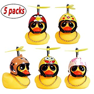 5 Pieces Rubber Duck Toy, Flamingo Angry bird Yellow Duck with Propeller Helmet,Decoration for Adults Kids party Chrismas Halloween