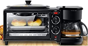 Breakfast Maker Toaster Multifunction Breakfast Center W/Toaster Oven Griddle & Coffee Maker Black Breakfast Station (Color : Black, Size : 45.5x18x20.5CM)