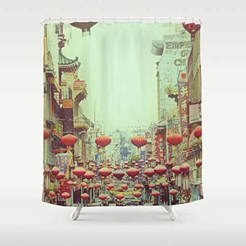Extra long shower curtain chinese red for Bathroom art amazon