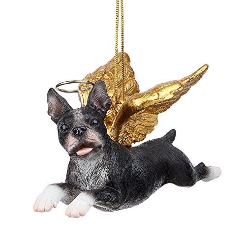 Christmas Tree Ornaments - Honor The Pooch Boston Terrier Holiday Angel Dog Ornaments