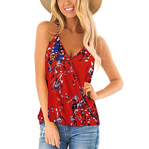 XVSSAA Women's Sexy Deep V-Neck Spaghetti Sling Top, Ladies Small Floral Printed Summer Casual Tank Shirt Red (Crystal Doll Juniors Cutout A Line Dress)
