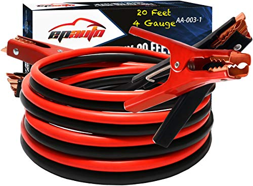 EPAuto 4 Gauge x 20 Ft 500A Heavy Duty Booster Jumper Cables with Travel Bag and Safety Gloves (4 AWG x 20 Feet) (The Best Jumper Cables)