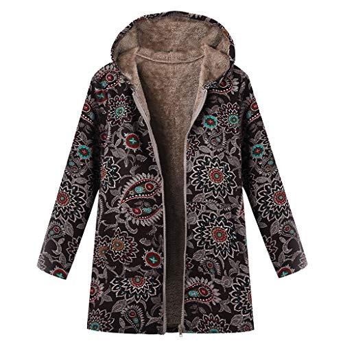 Clearance Sale Fleece Winter Coat Plus Size,Women Warm Parka Hooded Zipper Jacket (Black, 3XL)
