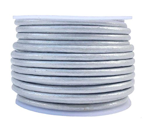 Round Leather Cord, 10 Meter Spool, 3 mm Metallic Silver ()