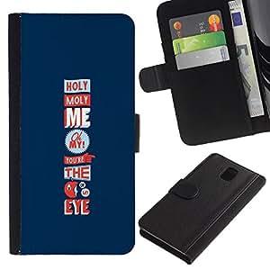 Billetera de Cuero Caso del tirón Titular de la tarjeta Carcasa Funda del zurriago para Samsung Galaxy Note 3 III N9000 N9002 N9005 / Business Style Holy Moly Love Funny Apple Eye Blue