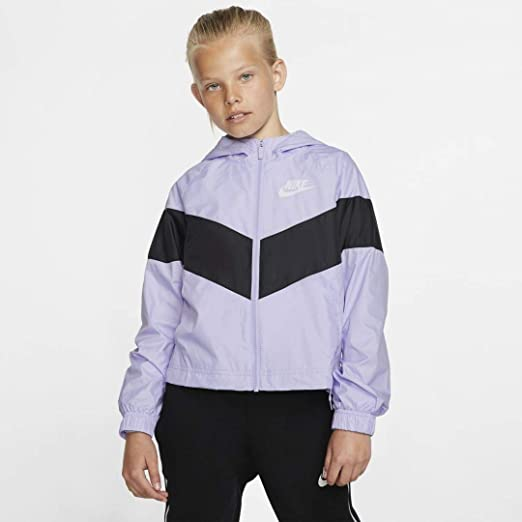 Estructuralmente Contribuyente difícil de complacer  Amazon.com: Nike Sportswear Big Kids' (Girls') Windrunner Jacket (Lavender  Mist/Black/White, X-Large): Clothing