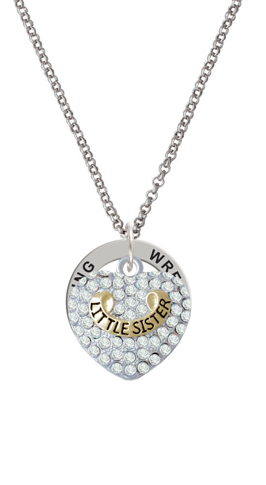 Gold Tone Little Sister Rock on Clear Crystal Heart - Wrestling Affirmation Ring Necklace