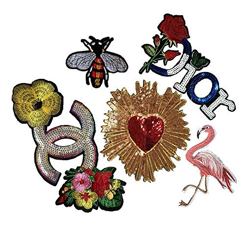 Embroidery Sequins Rose/Golden Round Red Love/Flamingo and Bee Embroidery Garment Patch DIY Sewing Manual Repair(Color 4)