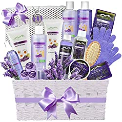 Premium Deluxe Bath & Body Gift Basket. Ultimate Large Spa Basket! #1 Spa Gift Basket for Women- Deluxe Aromatherapy Lavender Spa Kit + Luxury Bath Pillow!