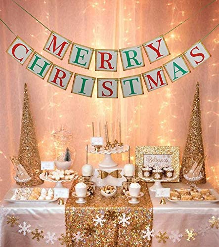 Merry Christmas Retro Banner Vintage Garland For Outdoor/&Indoor Home Party Decor