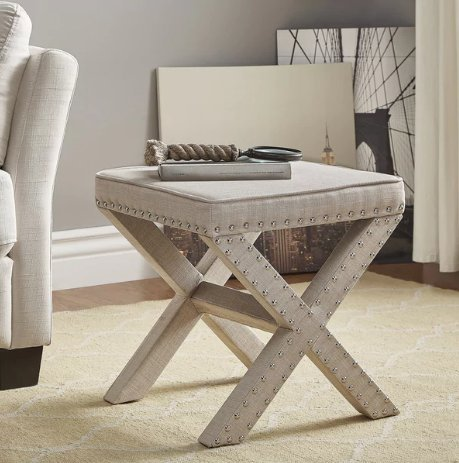 ModHaus Living Contemporary Linen Fabric Upholstered 17 Inch Bench Ottoman Vanity Stool with X Legs and Silver Nailhead - Includes Pen (Beige)