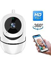 BONKEEY Camara de Vigilancia Inalambrica HD 720P Cámara IP, 360°Cámaras de Seguridad WiFi Interior con Visión Nocturna, Pan/Tilt,Audio Bidireccional, Detección de Movimiento, Control Remoto por Android / iOS App