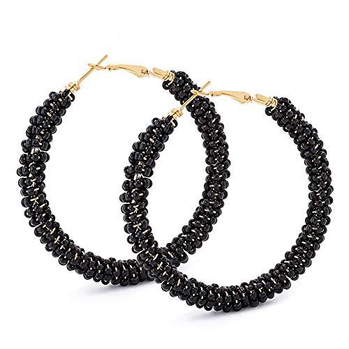 Beaded Hoop Earrings for Women - Handmade Big Circle Beaded Earrings - Idea for Business, Wedding, Party or Daily Wear (Black Modern)]()