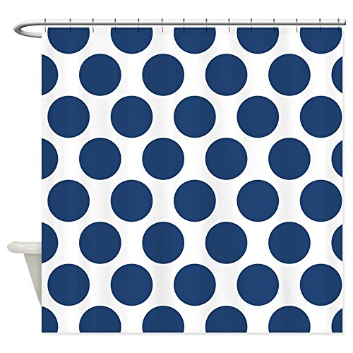 CafePress - Navy Blue Polkadot Shower Curtain - Decorative Fabric Shower Curtain (Blue Polka Dot Shower Curtain)