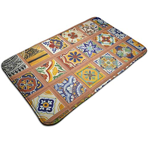 AZOULA Talavera Mexican Tiles Indoor Outdoor Doormat Welcome Doormat Bathroom Mats (Machine-Washable/Non-Slip) 31.5