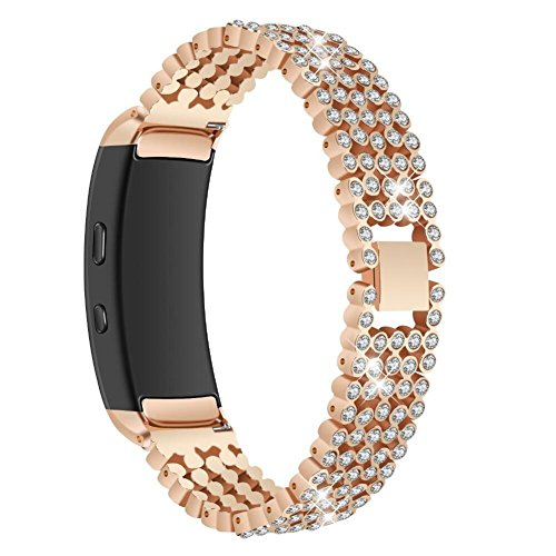 Bracelet Buckle Hook (VOVI Replacement Band For Samsung Gear Fit2 SM-360 Strap with Crystal Rhinestone Diamond Stainless Steel Metal Bracelet Accessories Wrist Band with Hook Buckle for Women Girl Girlfriend)