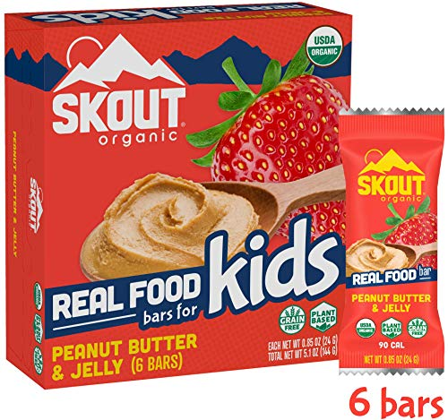 Skout Organic Real Food Bars for Kids – Peanut Butter & Jelly – Vegan Snacks – Plant Based Bars – Non-GMO – Gluten Free, Dairy Free, Soy Free – No Sugar Added – 0.85 oz (6 Count)