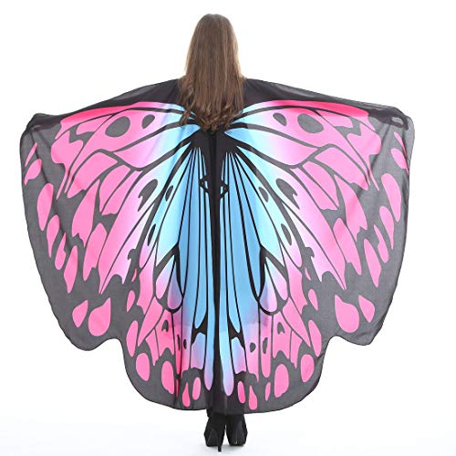 Halloween Party Soft Fabric Butterfly Wings Shawl Fairy Ladies Nymph Pixie Costume Accessory (Pink Blue)