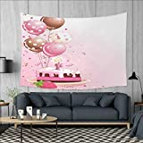 Anniutwo Birthday Art Wall Decor Strawberry Pink Slice of Cake Candle Dotted Balloons and Confetti Celebration Tapestry Wall Tapestry W60 x L51 (inch) Pink Tan Cream