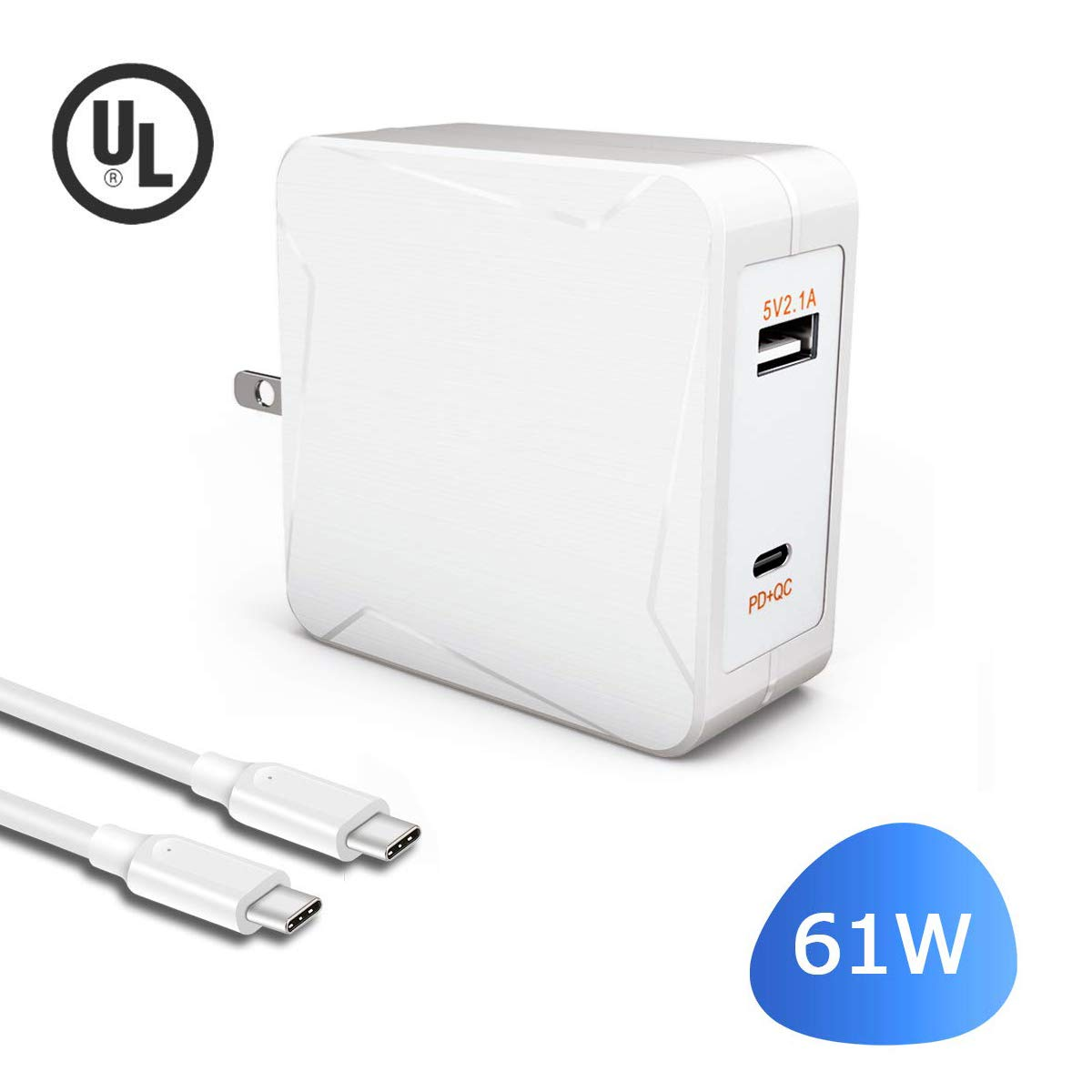 61W USB C Charger for MacBook Pro 13 inch 2019 2018 2017 2016 Thunderbolt 3 Ports Laptop-Power Supply-Adapter-Cord-Cable with New 7.5ft Extra Long Type C Cable & 5V 10W Charing Port [UL Listed]