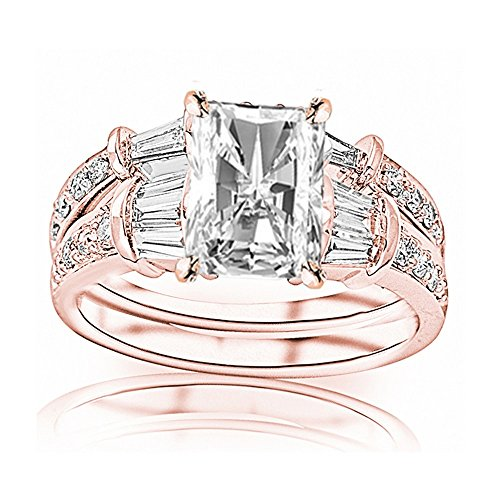 Band Round Baguette Diamond Brilliant (2.75 Ctw 14K Rose Gold Baguette Round GIA Certified Diamond Engagement Ring Wedding Bridal Band Set Radiant Shape (2 Ct E Color VVS2 Clarity Center Stone))