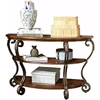 Ashley Furniture Signature Design - Nestor Sofa Table - 2 Shelf - Semi Circle - Medium Brown