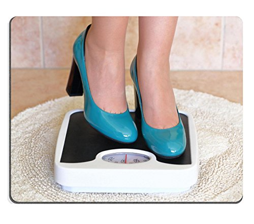 Price comparison product image Luxlady Gaming Mousepad IMAGE ID: 37490786 Woman s feet in high heels on bathroom scale