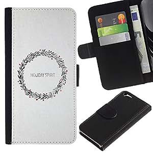 KingStore / Leather Etui en cuir / Apple Iphone 6 / Guirnalda de la Navidad de la nieve blanca X-Mas de vacaciones