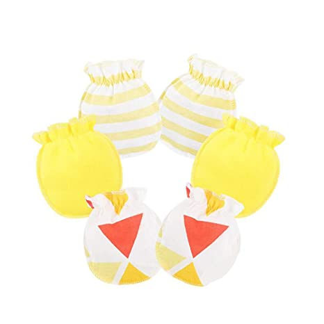 Scrox 3X Guantes de bebé 100% algodón Manopla de Tricot para recién Nacidos Mitones Anti-arañazos para bebés recién Nacidos hasta 3 Meses ...