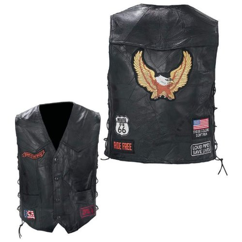 Black Diamond Plate Rock Design Genuine Buffalo Leather Biker Vest, Black, Large