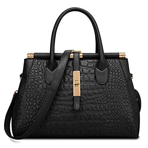 Crocodile Embossed Leather Handbag (Crocodile Embossed Handbag,ZZSY Women Leather Shoulder Bag Fahion Vintage Ladies Top handle Satchel Tote (Black))