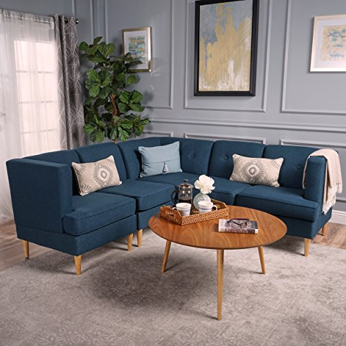 Christopher Knight Home 301873 Milton Mid Century Modern Sectional Sofa Set, Navy Blue/Natural