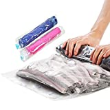 WETONG Compression Garment Space Saver bags for Travel (4 X Small,4 X Medium),Roll Up Storage Bags,Luggage and Home Storage,Pack of 8