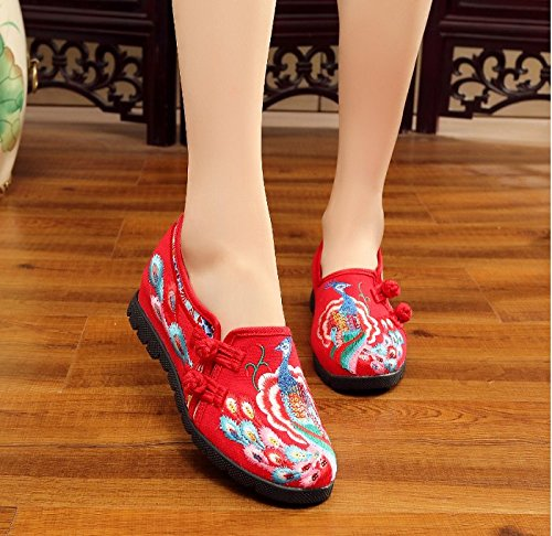 Shoes Red increase Shoes Embroidery Gift Art Internal Products Bottom Women Flat H7vgqa0v