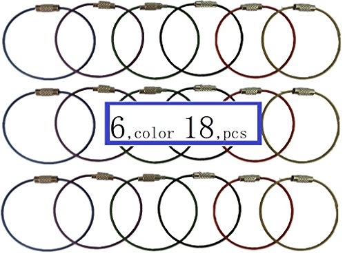 18pcs, 6inches Length Multicolor Stainless Steel Wire Ring Keychain Cable Key Luggage tag rope Ring for Outdoor Hiking Hanging Luggage Tag Keyrings ID Tag Keepers Key Holder Smart Key Ring Organizes