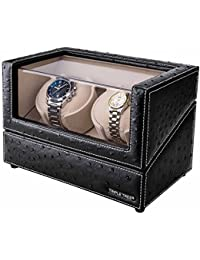 Double Watch Winder - with Flexible Plush Pillow, in Wood Shell and Black Leather, Japanese Motor, 4 Rotation...