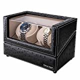 Double Watch Winder - with Flexible Plush Pillow, in Wood Shell and Black Leather, Japanese Motor, 4 Rotation Mode Setting, Fit Lady and Man Automatic Watch