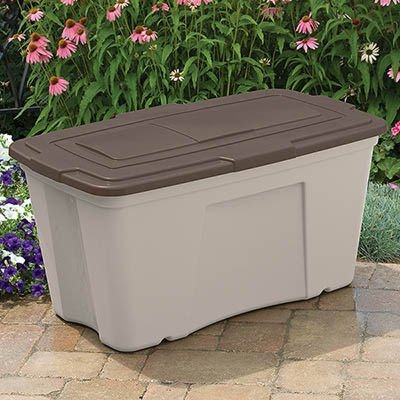 Suncast 50 Gallon Storage Bin - Durable Resin Tote for Yard Tools and Pool Toys - Container for Indoor & Outdoor...